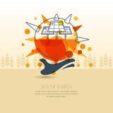 Mano humana que sostiene el sol con la batería solar Illust del esquema del vector Fotografía de archivo