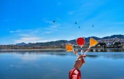 Mano humana que sostiene las piruletas coloridas contra el lago artificial fotografía de archivo