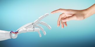 Mano humana que toca una mano androide fotos de archivo libres de regalías