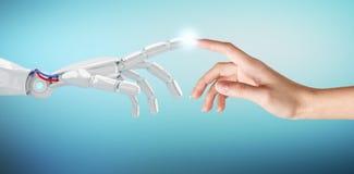 Mano humana que toca una mano androide imagen de archivo libre de regalías