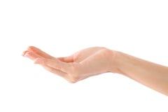 Mano humana vacía (mano de la mujer de la belleza) Fotografía de archivo