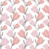 Mano inconsútil de repetición retra rosada del modelo de Grey Vintage Magnolia Flowers Fabric del vector dibujada en estilo botán stock de ilustración