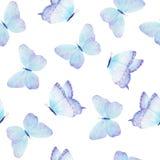 Mano inconsútil del modelo de la mariposa de la acuarela dibujada ilustración del vector