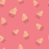 Mano inconsútil del modelo del vector del garabato de los dulces de las magdalenas dibujada Imagenes de archivo