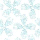 Mano inconsútil del modelo del vector del garabato de los dulces de las magdalenas dibujada Foto de archivo libre de regalías
