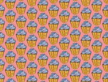 Mano inconsútil del modelo del vector del garabato de los dulces de las magdalenas dibujada Fondo de la panadería del vintage stock de ilustración