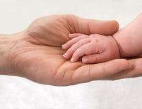 Mano infantil en la mano del padre Foto de archivo