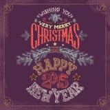 A mano iscrizione del nuovo anno e di Natale royalty illustrazione gratis