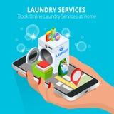 Mano isometrica della donna facendo uso dello smartphone che prenota servizio di lavanderia online Prenoti il concetto online di  Fotografia Stock Libera da Diritti