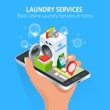 Mano isometrica della donna facendo uso dello smartphone che prenota servizio di lavanderia online Prenoti il concetto online di  Immagini Stock Libere da Diritti