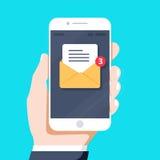 Mano istantanea di stile di progettazione che tiene lo smartphone con l'applicazione sullo schermo, progettazione del email di ve royalty illustrazione gratis