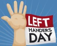 Mano izquierda con el calendario de hojas sueltas para celebrar a los zurdos día, ejemplo del vector Imagenes de archivo