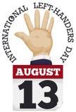 Mano izquierda con el calendario de hojas sueltas para celebrar a los zurdos día, ejemplo del vector Fotos de archivo libres de regalías