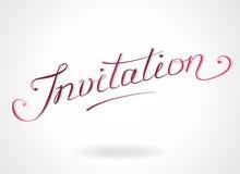 """Mano-letras de la """"invitación"""" Ilustración del Vector"""