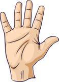 Mano levantada en un gesto de mano abierto stock de ilustración