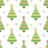 Mano linda dibujada, fondo inconsútil del modelo del árbol de navidad del garabato Fotografía de archivo libre de regalías