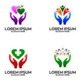 Mano Logo Design Template de la salud y del cuidado ilustración del vector