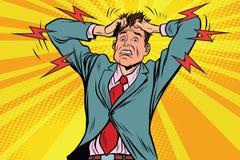 Mano, malattia e medicina della testa di panico dell'uomo d'affari illustrazione vettoriale