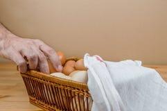 Mano maschio che prende un uovo del pollo da un canestro su una tavola fotografia stock