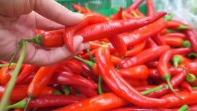 Mano maschio che seleziona i peperoni roventi al supermercato archivi video