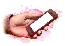 Mano maschio che tiene uno smartphone mobile dello schermo in bianco, schizzo Royalty Illustrazione gratis
