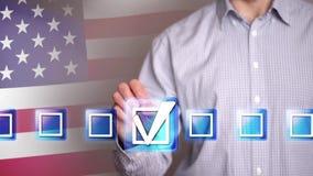 Mano maschio che tocca una casella di controllo di voto illustrazione vettoriale