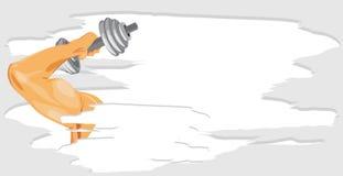 Mano masculina con pesa de gimnasia. Bandera del deporte Fotografía de archivo libre de regalías