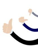 Mano masculina del hombre de negocios con el pulgar hacia arriba y hacia abajo Espacio libre arriba para una nota específica Opi  Imagenes de archivo