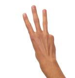 Mano masculina que cuenta - tres fingeres Imagen de archivo libre de regalías