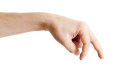 Mano masculina que muestra los dedos que recorren Imagen de archivo libre de regalías