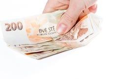 Mano masculina que sostiene billetes de banco checos Imágenes de archivo libres de regalías
