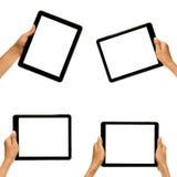 Mano masculina que sostiene la tableta en maneras diferentes Imagen de archivo