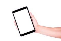Mano masculina que sostiene una PC de la tableta con el espacio para usted texto imagen de archivo libre de regalías