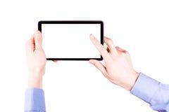 Mano masculina que sostiene una PC de la tableta con el espacio para usted texto Fotografía de archivo libre de regalías