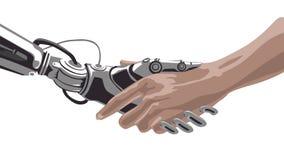 Mano meccanica dei robot che stringe una mano degli esseri umani illustrazione di stock