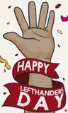 Mano morena con la cinta del saludo para celebrar a los zurdos día, ejemplo del vector Foto de archivo