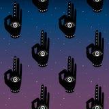 Mano negra con mudra del ojo en una yoga inconsútil del cielo del fondo de la noche del espacio de las estrellas del buddhism del ilustración del vector