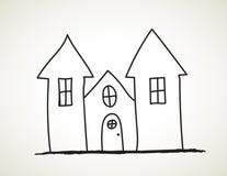 Mano negra del castillo de la tinta dibujada ilustración del vector