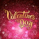Mano original que pone letras al día de tarjeta del día de San Valentín feliz en backgro carmesí ilustración del vector