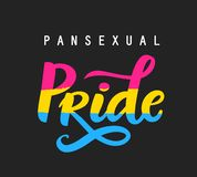 Mano Pansexual del orgullo del movimiento escrita poniendo letras al cartel libre illustration