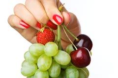 Mano in pieno di frutta Fotografie Stock
