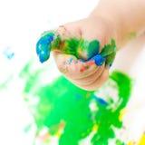 Mano pintada del bebé Fotos de archivo libres de regalías