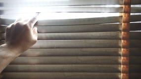 Mano potata sui ciechi di legno della finestra Qualcuno che guarda dalla finestra immagine stock