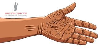 Mano preparada para el apretón de manos, pertenencia étnica africana, vector detallado Imagenes de archivo