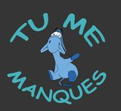 Mano que agita del burro triste con el texto francés Foto de archivo