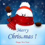 Mano que agita del muñeco de nieve lindo de la Navidad Ilustración de la historieta del vector Foto de archivo libre de regalías