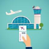 Mano que celebra el documento de embarque en el aeropuerto Viajando en el aeroplano, pl stock de ilustración