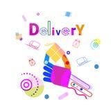 Mano que detiene al mensajero rápido Service Banner del concepto de la entrega de la caja Fotografía de archivo