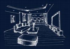 Mano que dibuja el diseño interior para la sala de estar Foto de archivo