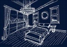 Mano que dibuja el diseño interior para el sitio del dormitorio Fotos de archivo libres de regalías